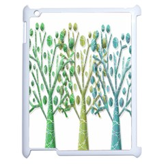 Magical green trees Apple iPad 2 Case (White)