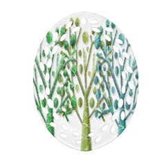 Magical green trees Oval Filigree Ornament (2-Side)