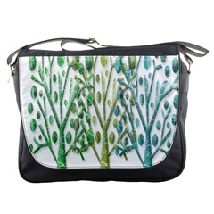 Magical green trees Messenger Bags