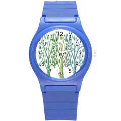 Magical green trees Round Plastic Sport Watch (S)