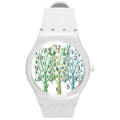 Magical green trees Round Plastic Sport Watch (M)