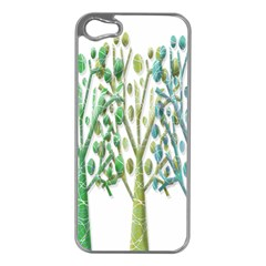 Magical green trees Apple iPhone 5 Case (Silver)