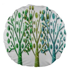 Magical green trees Large 18  Premium Round Cushions