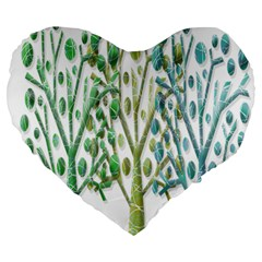 Magical green trees Large 19  Premium Heart Shape Cushions