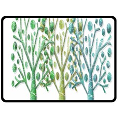 Magical green trees Double Sided Fleece Blanket (Large)