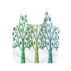 Magical green trees Full Print Recycle Bags (M)
