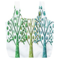 Magical green trees Full Print Recycle Bags (L)