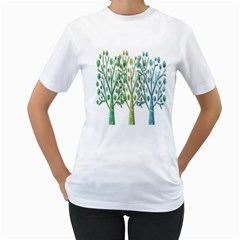 Magical green trees Women s T-Shirt (White)
