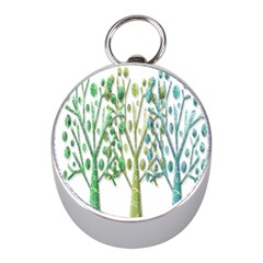 Magical green trees Mini Silver Compasses