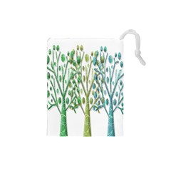 Magical green trees Drawstring Pouches (Small)