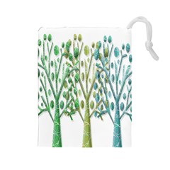 Magical green trees Drawstring Pouches (Large)
