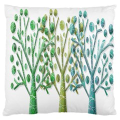 Magical green trees Large Flano Cushion Case (Two Sides)