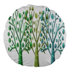 Magical green trees Large 18  Premium Flano Round Cushions