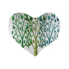 Magical green trees Standard 16  Premium Flano Heart Shape Cushions