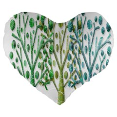 Magical green trees Large 19  Premium Flano Heart Shape Cushions