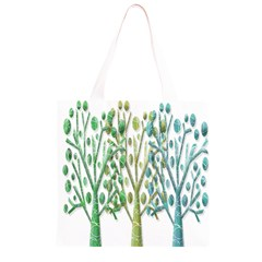 Magical green trees Grocery Light Tote Bag