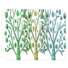 Magical green trees Double Sided Flano Blanket (Medium)