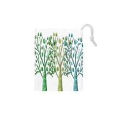 Magical green trees Drawstring Pouches (XS)