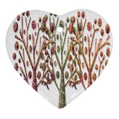 Magical autumn trees Ornament (Heart)