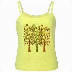 Magical autumn trees Yellow Spaghetti Tank