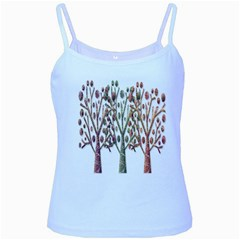 Magical autumn trees Baby Blue Spaghetti Tank