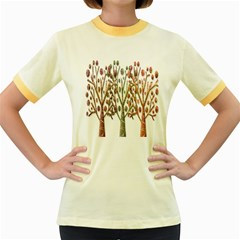 Magical autumn trees Women s Fitted Ringer T-Shirts