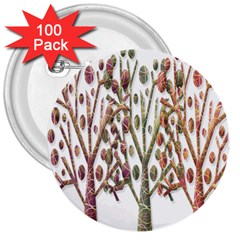 Magical autumn trees 3  Buttons (100 pack)