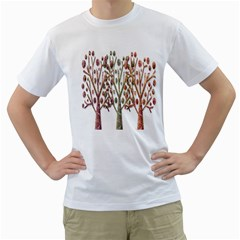 Magical autumn trees Men s T-Shirt (White) (Two Sided)