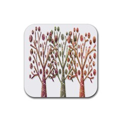 Magical autumn trees Rubber Square Coaster (4 pack)