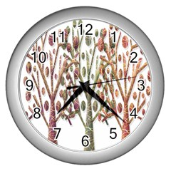 Magical autumn trees Wall Clocks (Silver)