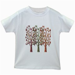 Magical autumn trees Kids White T-Shirts