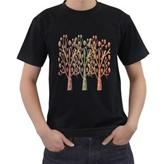 Magical autumn trees Men s T-Shirt (Black) (Two Sided)
