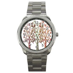 Magical autumn trees Sport Metal Watch