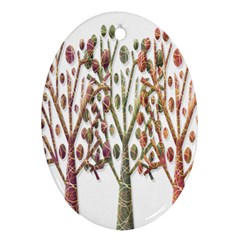 Magical autumn trees Oval Ornament (Two Sides)