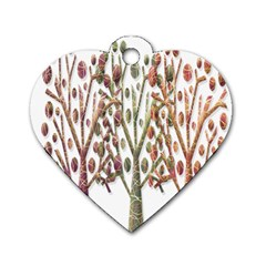 Magical autumn trees Dog Tag Heart (One Side)