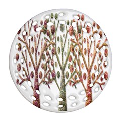 Magical autumn trees Round Filigree Ornament (2Side)