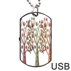 Magical autumn trees Dog Tag USB Flash (Two Sides)