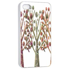 Magical autumn trees Apple iPhone 4/4s Seamless Case (White)