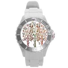 Magical autumn trees Round Plastic Sport Watch (L)