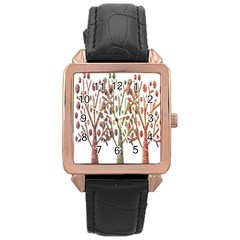 Magical autumn trees Rose Gold Leather Watch