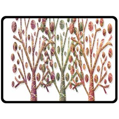 Magical autumn trees Double Sided Fleece Blanket (Large)