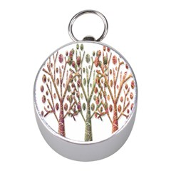 Magical autumn trees Mini Silver Compasses