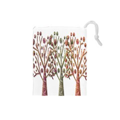 Magical autumn trees Drawstring Pouches (Small)