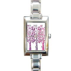 Magical pink trees Rectangle Italian Charm Watch
