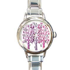 Magical pink trees Round Italian Charm Watch