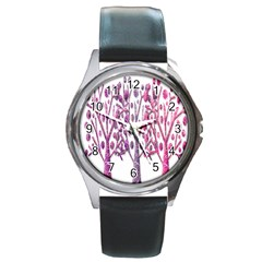 Magical pink trees Round Metal Watch