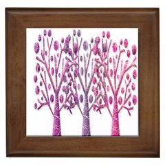 Magical pink trees Framed Tiles