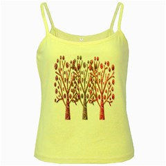 Magical pink trees Yellow Spaghetti Tank