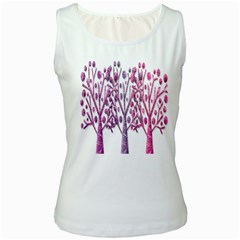 Magical pink trees Women s White Tank Top