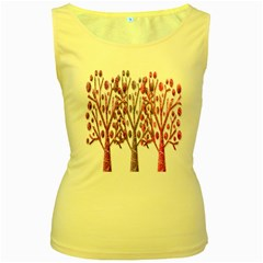 Magical pink trees Women s Yellow Tank Top